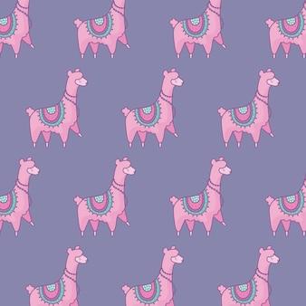Padrão de estilo bonito alpacas kawaii