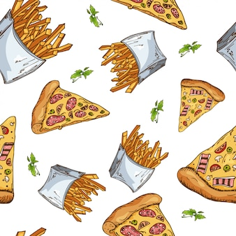 Padrão de fast-food. mão desenhar ilustração retrô. projeto do vintage.