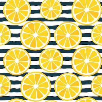 Padrão de fatias de limão sem costura com listras escuras