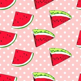 Padrão de fatias de melancia no fundo de bolinhas Vetor Premium
