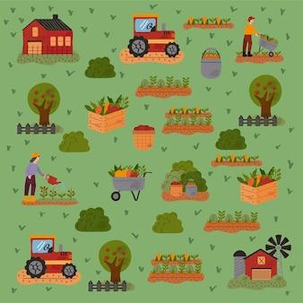 Padrão de fazenda e agricultura definir ícones ilustração vetorial design