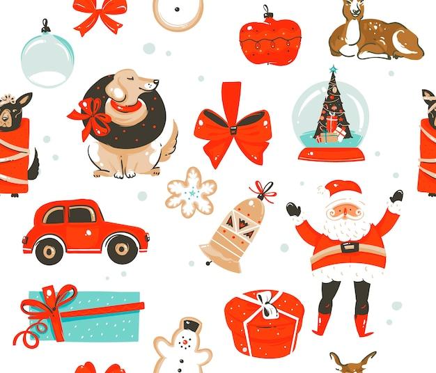 Padrão de feliz natal Vetor Premium