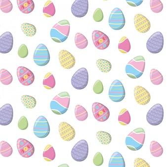 Padrão de feliz páscoa com ovos de cor