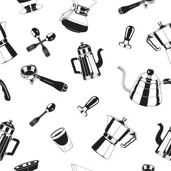 Padrão de ferramentas de cafeteira sem costura