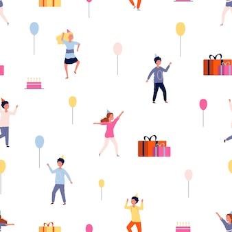 Padrão de festa. fundo de crianças felizes. ilustração plana dos desenhos animados
