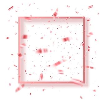 Padrão de festival com glitter rosa e moldura para convites de festa de fundo de saudação de confete de texto