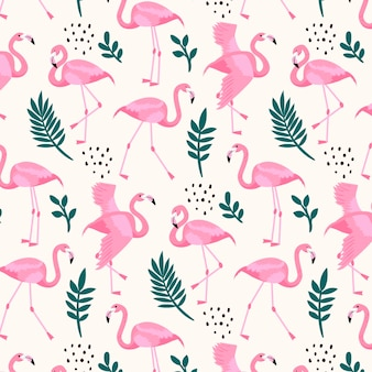 Padrão de flamingo com folhas diferentes