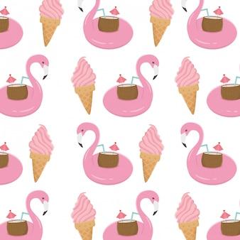 Padrão de flamingo e sorvete de verão