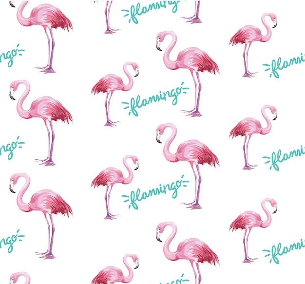 Padrão de flamingo sem emenda no fundo branco