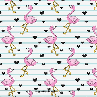 Padrão de flamingos com corações na mão desenhada estilo