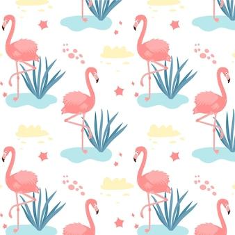 Padrão de flamingos com folhas tropicais na água