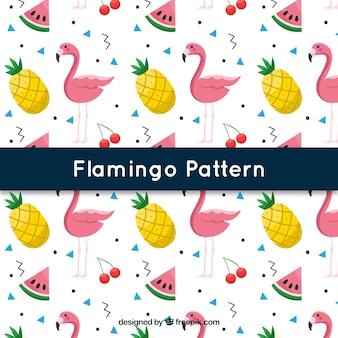 Padrão de flamingos com frutas no estilo 2d