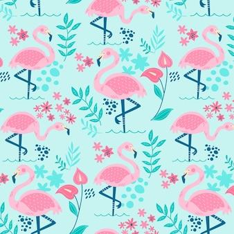 Padrão de flamingos com lindas folhas tropicais