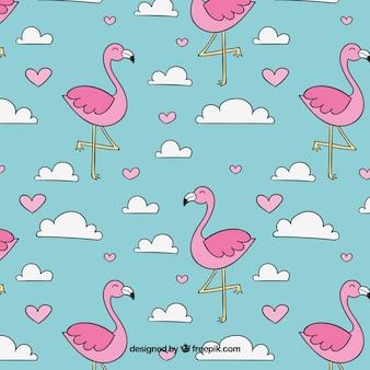 Padrão de flamingos com nuvens no estilo desenhado de mão