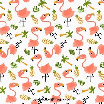 Padrão de flamingos com plantas e abacaxis