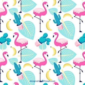 Padrão de flamingos com plantas e bananas no estilo desenhado de mão