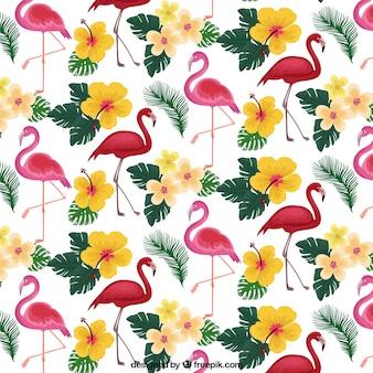 Padrão de flamingos com plantas e flores na mão desenhada estilo