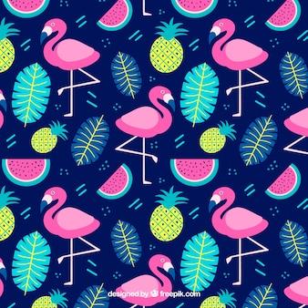 Padrão de flamingos com plantas e frutas na mão desenhada estilo