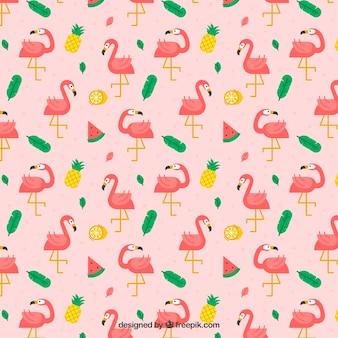 Padrão de flamingos com plantas e frutas