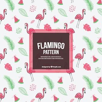 Padrão de flamingos com plantas e melancias na mão desenhada estilo