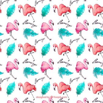 Padrão de flamingos com plantas em estilo aquarela