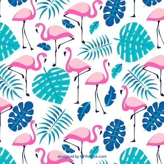 Padrão de flamingos com plantas na mão desenhada estilo