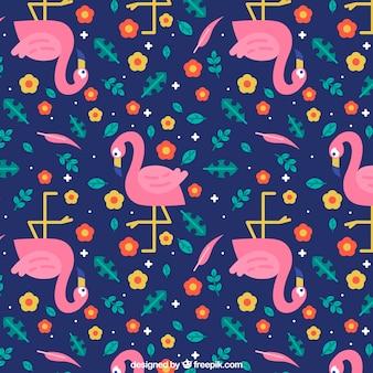 Padrão de flamingos com plantas