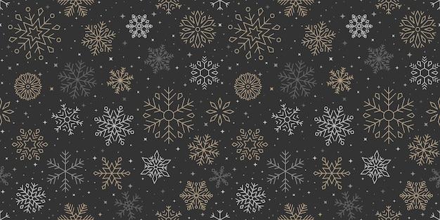 Padrão de floco de neve, plano de fundo de natal e feliz ano novo