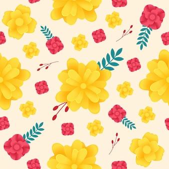 Padrão de flor amarela e vermelha