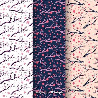 Padrão de flor de cerejeira desenhada de mão