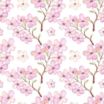 Padrão de flor de cerejeira em aquarela