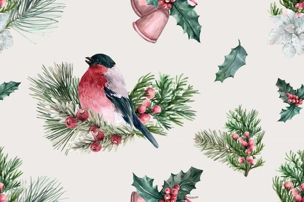 Padrão de flor de inverno com pássaro, taxus baccata