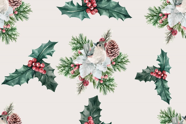Padrão de flor de inverno com pássaros, bagas de azevinho, taxus baccata