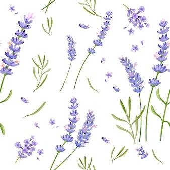 Padrão de flor de lavanda desenhada de mão