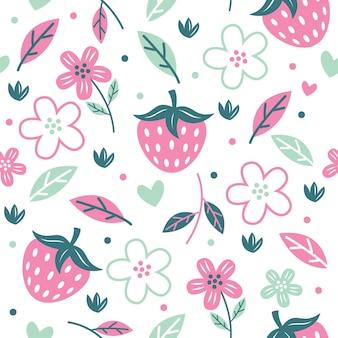 Padrão de flor de morango sem costura com ilustração vetorial de cor pastel