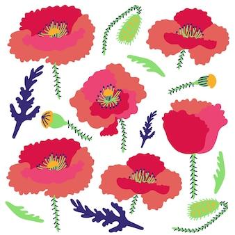 Padrão de flor de papoulas de fundo brilhante