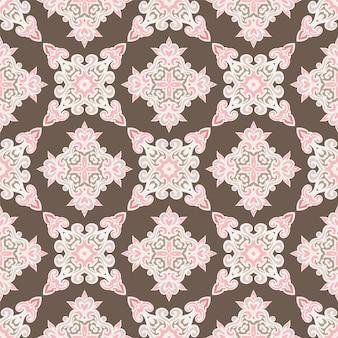 Padrão de flor étnica com azulejos para vintage de mosaico geométrico abstrato de tecido