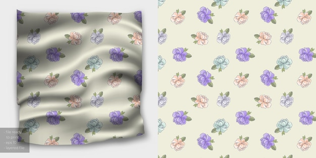 Padrão de flor sem costura mínimo para impressão em tecido