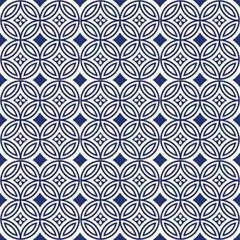 Padrão de flor sem costura oriental azul redondo cruzado