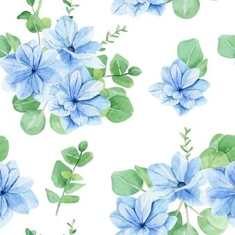 Padrão de flores azuis