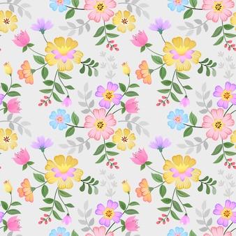 Padrão de flores desenhadas mão colorido