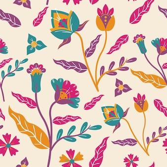 Padrão de flores e folhas exóticas pintadas à mão