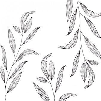 Padrão de flores e folhas ícone isolado