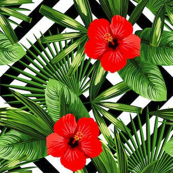 Padrão de flores e folhas tropicais