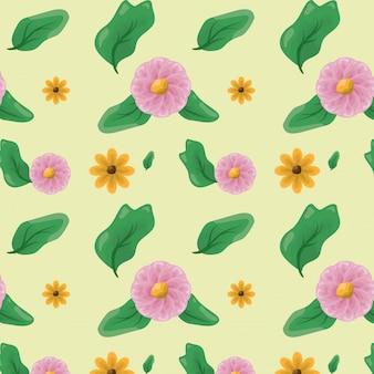 Padrão de flores e folhas verdes, conceito de natureza