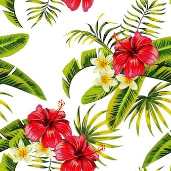 Padrão de flores e plantas tropicais