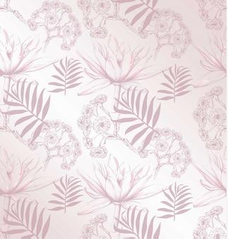Padrão de flores ilustração vetorial. fundo de padrões florais. ilustrações de estilo gráfico desenhadas a mão na linha de arte