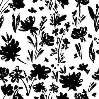 Padrão de flores monocromáticas desenhado à mão sem costura