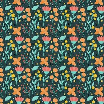 Padrão de flores prensadas de design plano orgânico