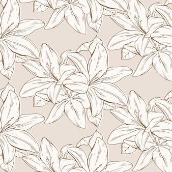 Padrão de flores prensadas de gravura desenhada à mão